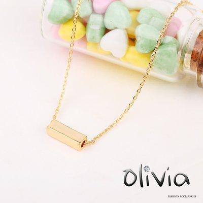 Olivia Fashion 鎖骨項鍊 簡單長方塊造型厚鍍14K真金鎖骨項鍊【E17751】基本簡約款