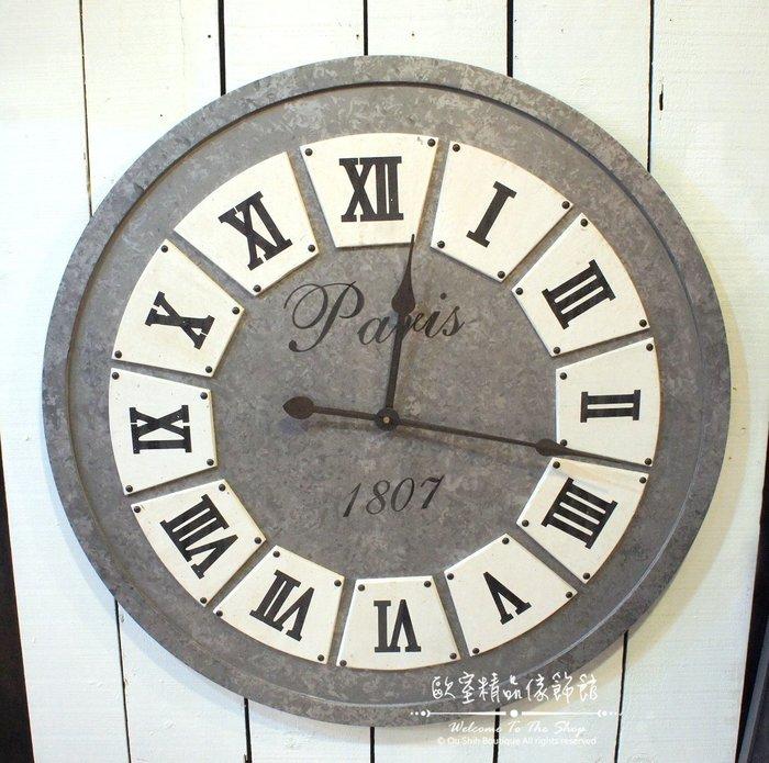~*歐室精品傢飾館*~美式鄉村 Loft工業 木製 復古 仿舊 羅馬 數字 簡約 大掛鐘 時鐘 鐵灰 居家~新款上市~