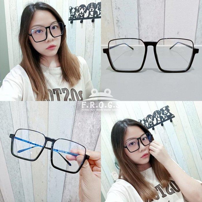 F.R.O.G.S E2028現貨特價-歐美超大復古方框半膠框可佩度數造型素顏眼鏡男女同款平光眼鏡裝飾眼鏡無度數造型眼鏡