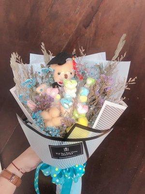 [幸福久久久]棉花糖熊熊乾燥花花束(畢業禮)