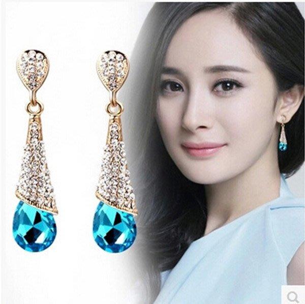 新款韓國水晶耳環 女時尚長款耳環紅色新娘結婚宴會耳環無耳洞耳夾103