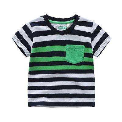 【Mr. Soar】 C495 夏季新款 歐美style童裝男童條紋短袖T恤 現貨