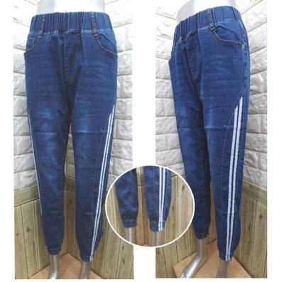 現貨《XL~5L》超顯瘦3D側邊剪裁縮口褲/束口褲/牛仔褲【5612】時尚TINA中大尺碼長褲