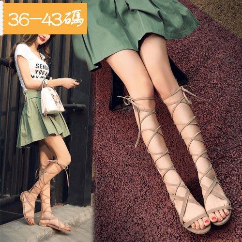 平底系帶後拉鏈綁腿羅馬涼靴 大碼學生綁帶涼鞋 —莎芭
