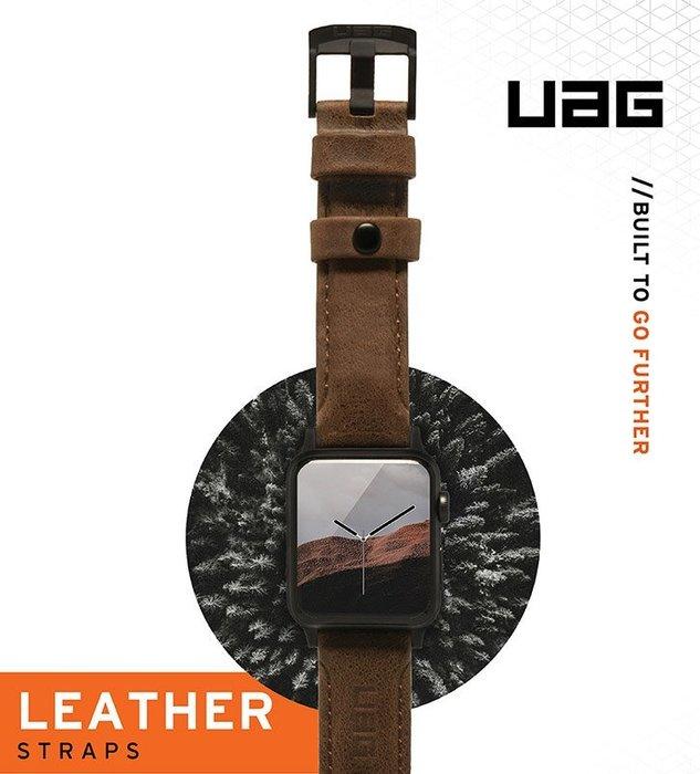 超 促銷  時尚皮革錶帶  UAG Apple Watch 42/44mm 皮革錶帶-棕色 44mm 公司貨皮革錶帶
