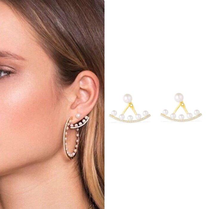 💎1131、心動氣質百搭後掛式珍珠耳環💎正韓飾品 耳環 珠寶 925純銀針 ED064