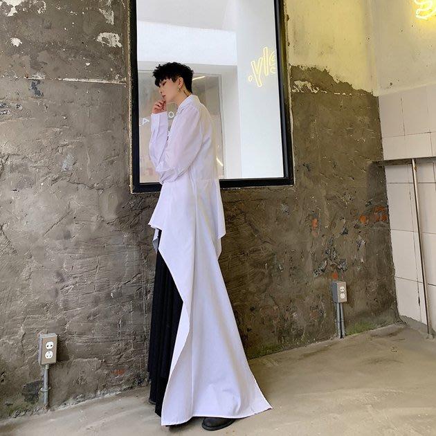 FINDSENSE 2019 秋季上新 G19 長款不規則飄逸時尚潮流純色長袖襯衫 素面襯衫 男裝 上衣