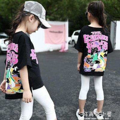 2019夏季女童韓版短袖純棉卡通T恤兒童寬鬆休閒中大童母女親子裝