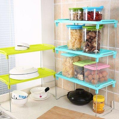 多層落地廚房置物架調料架桌面多 家用可折疊收納架塑料雜物架