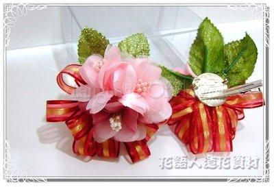 ◎花語人造花資材◎*浪漫圓滿花兩用胸花髮夾禮盒-6*婚禮小物~新娘伴娘~可加價裝LED
