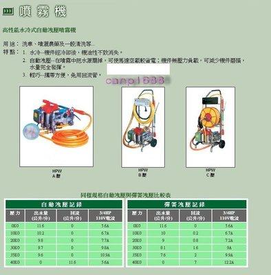 三大興*3/4HP HPW C型 高性能水冷式自動洩壓噴霧機*洗車機*試壓機 含配件