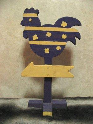[狗肉貓]_ 木製彩繪公雞造型指標擺飾裝置藝術_