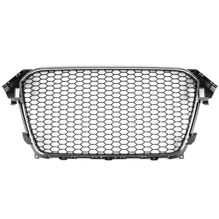 AUDI 奧迪 A4 S4 B8.5 13-16年 適用 RS4造型 水箱罩水箱護罩中網水柵 無倒車雷達- 鍍鉻+亮黑