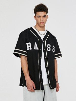 @尚愛屋RASS棒球刺繡短袖開衫 高街寬松美式潮牌夏季薄款半袖襯衫外套男