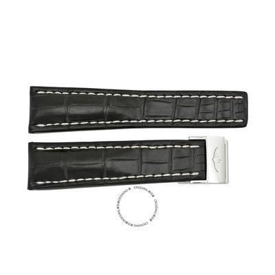 【換日線】BREITLING 761P-A20D 黑色錶帶白色拼接帶和不銹鋼折疊扣24-20米