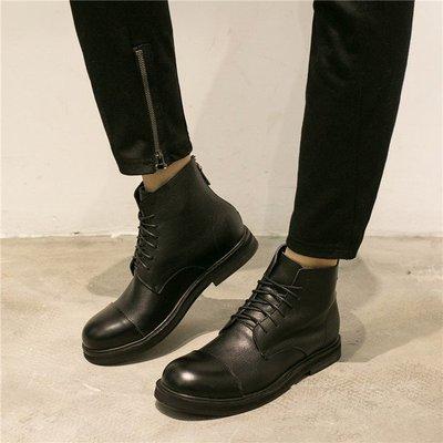 FINDSENSE內增高男士靴子真皮高幫鞋系帶後拉鏈大頭皮靴    預購7天+現貨