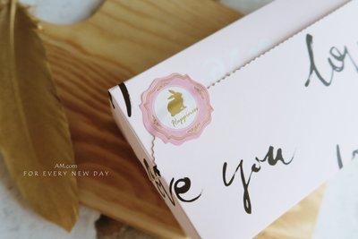 AM好時光【J357】幸運萌兔燙金貼紙 12枚❤中秋節月餅伴手禮貼 婚禮小物謝禮回禮 西點餅乾甜點牛皮紙盒裝飾 手工皂貼