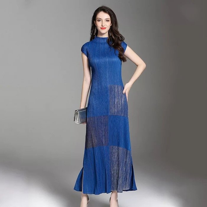燙金 皺摺衣 三宅風格 短袖 長洋裝 連衣裙 ~ 3H160