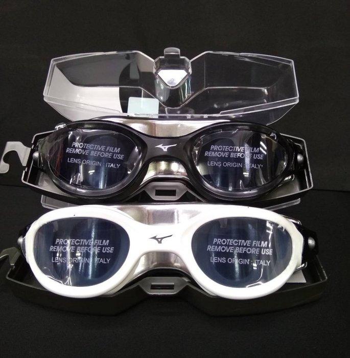運動GO MIZUNO 運動用品 泳具 可調 泳鏡 防霧 矽膠 黑/白 N3TE800909 / N3TE800901