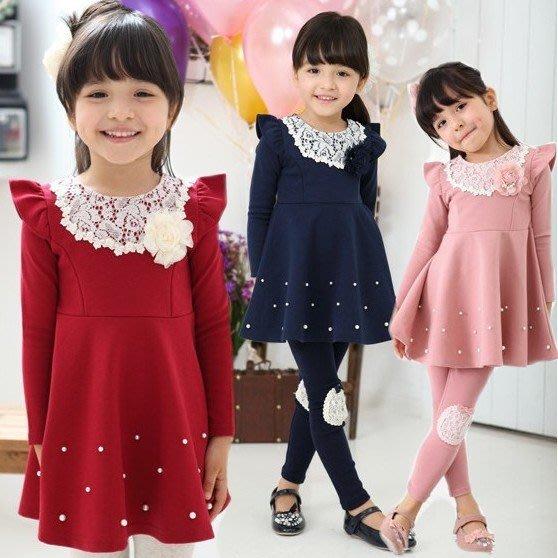 韓版《飛袖蕾絲款》甜美長袖洋裝 (J3-5)