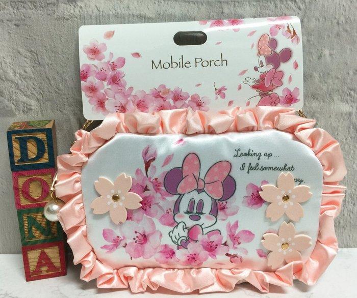 【Dona日貨】日本迪士尼store限定 米老鼠米妮 櫻花系列粉色 可透視觸控手機袋/手提包 B34
