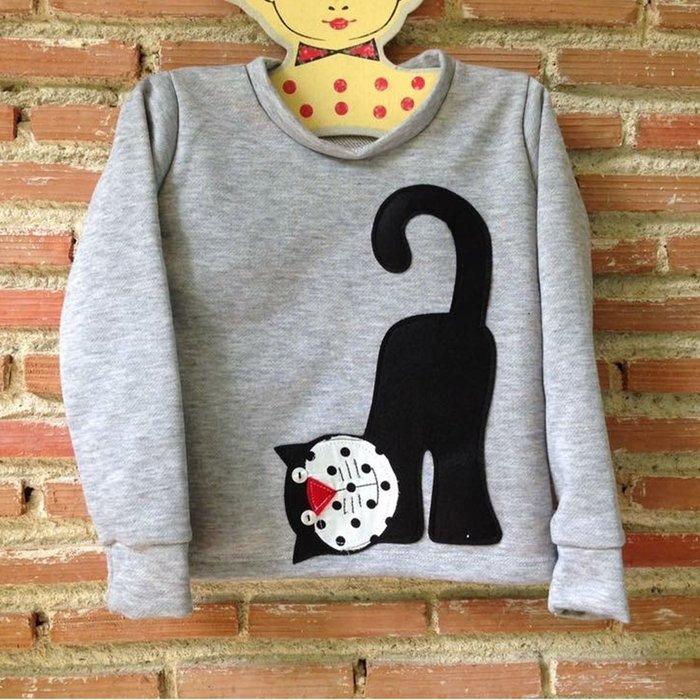 泰國設計製造手做 女童裝 男童裝 純棉 長袖 - 黑貓