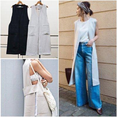 【預購】日本連線TODAYFUL夏2017新入荷Linen Stitch Vest風靡光澤亞麻拼接長款風衣背心RBS
