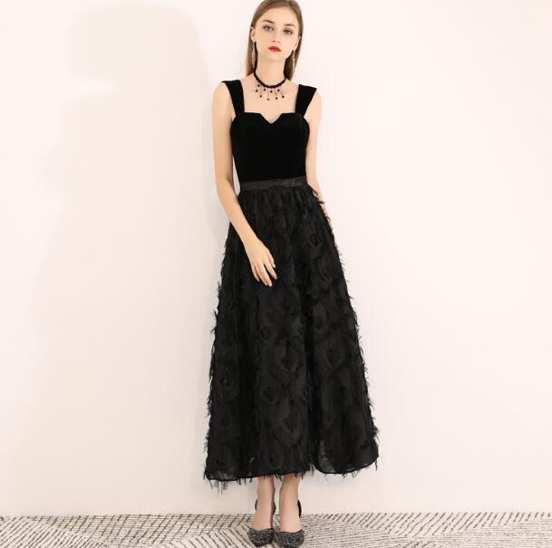 宴會洋裝 婚禮洋裝 宴會晚禮服裙 名媛聚會生日派對連身裙 長款年會小黑裙 畢業洋裝 畢業禮服—莎芭