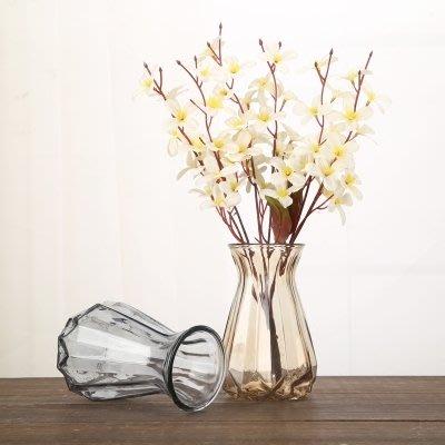玻璃花瓶透明歐式藍色大小號滿天星水培干花餐客廳擺件鮮花插花瓶