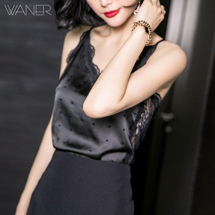 創意夏季服飾 蕾絲衫  T恤皖兒春裝新款小心機黑色蕾絲吊帶背心拼接打底衫性感上衣女