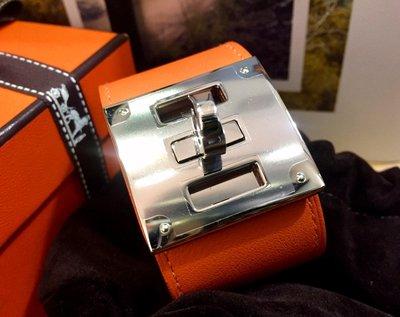 HERMES 專櫃 真品 Kelly Dog 93經典橘 Swift皮質 銀釦 S尺寸 配飾手環【全新15800含運費】