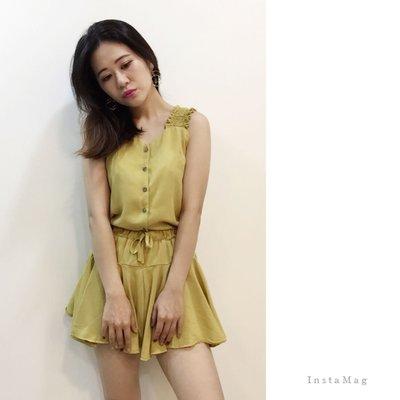黃色現貨出清❣️排扣皺摺肩帶背心+褲裙套裝