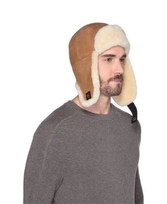 【全新正貨私家珍藏】UGG Sheepskin Fur Trapper Hat Chestnut 男款羊皮帽