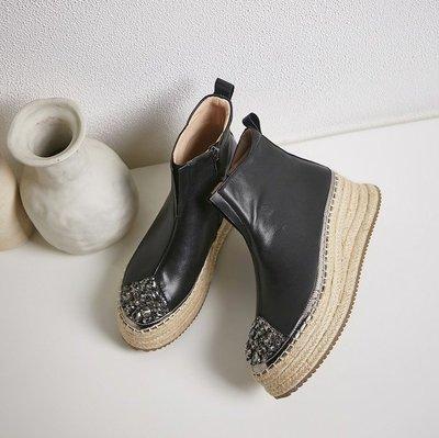 Fashion*草編漁夫鞋 真皮厚底增高短靴 休閒百搭高幫鞋 英倫風馬丁靴『黑色 米白色』34-39碼