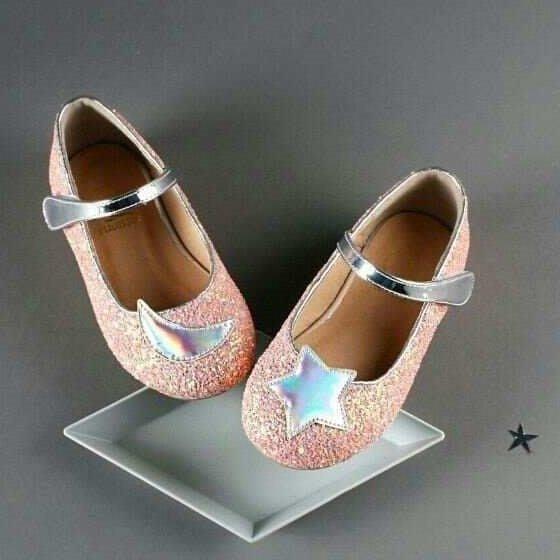 『※妳好,可愛※』 妳好可愛韓國童鞋 正韓 經典款 星星月亮娃娃鞋 亮片娃娃鞋 公主鞋 花童鞋 韓國童鞋