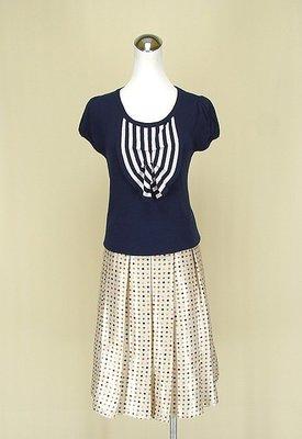 貞新 veeko 專櫃 靛藍圓領短袖棉質上衣F號+mung chi 正韓 香檳色緞面圓裙S號