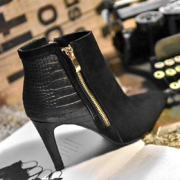 Fashion*韓版尖頭時裝靴 磨砂拼接高跟鞋 細跟馬丁靴 真皮裸色短靴『黑色』34-39碼