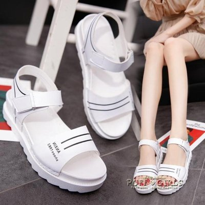 平底低跟平跟鬆糕跟厚底女涼鞋百搭韓版防滑女鞋學生鞋