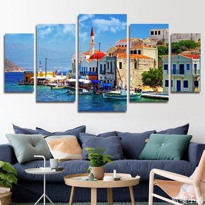免運 地中海風格裝飾畫掛畫北歐客廳沙發品背景墻壁現代簡約愛琴海風景