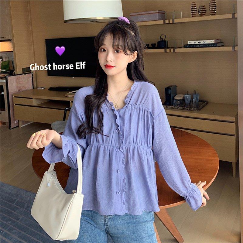 小香風 短袖T恤 時尚穿搭 韓版 木耳邊V領寬松chic法式洋氣紫色長袖襯衫上衣女