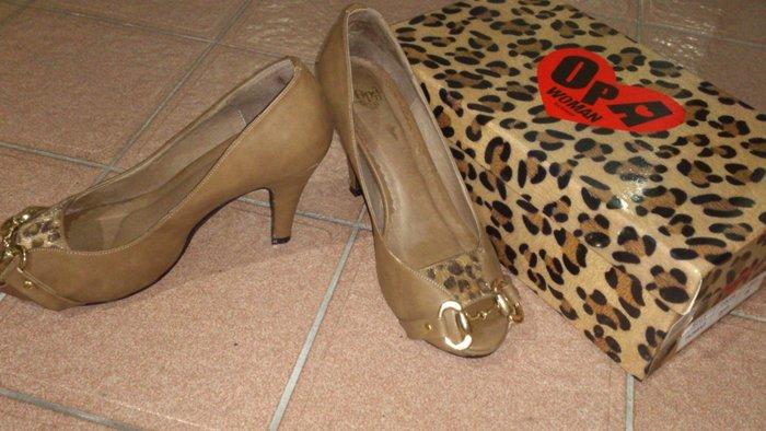 二手OPA品牌咖啡色豹紋魚口高跟鞋 38號 金色扣飾露趾魚口鞋