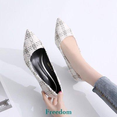 Freedom女鞋白色小清新高跟鞋少女貓跟鞋百搭細跟尖頭單鞋女中跟2019春款新款