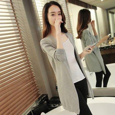 KOKO萬品2016春裝新款韓版女裝V領鏤空針織開衫中長款寬松薄毛衣純色外套