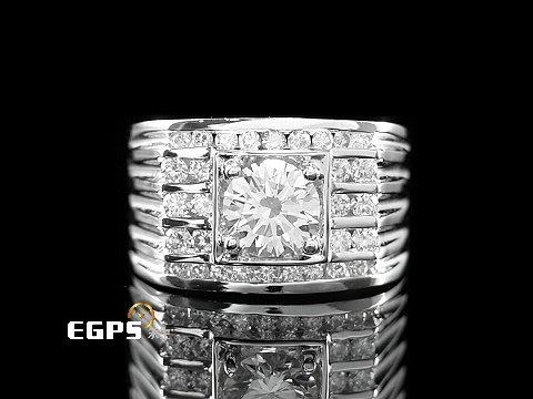 【永生流當品】白K金 天然鑽石 1.08CT 豪華配鑽 1克拉 鑽石戒指 男戒 IQ5724