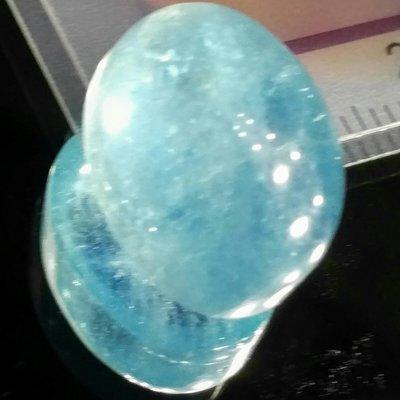 天然無處理大克拉海水藍寶Aquamarine橢圓型蛋面裸石15.3克拉