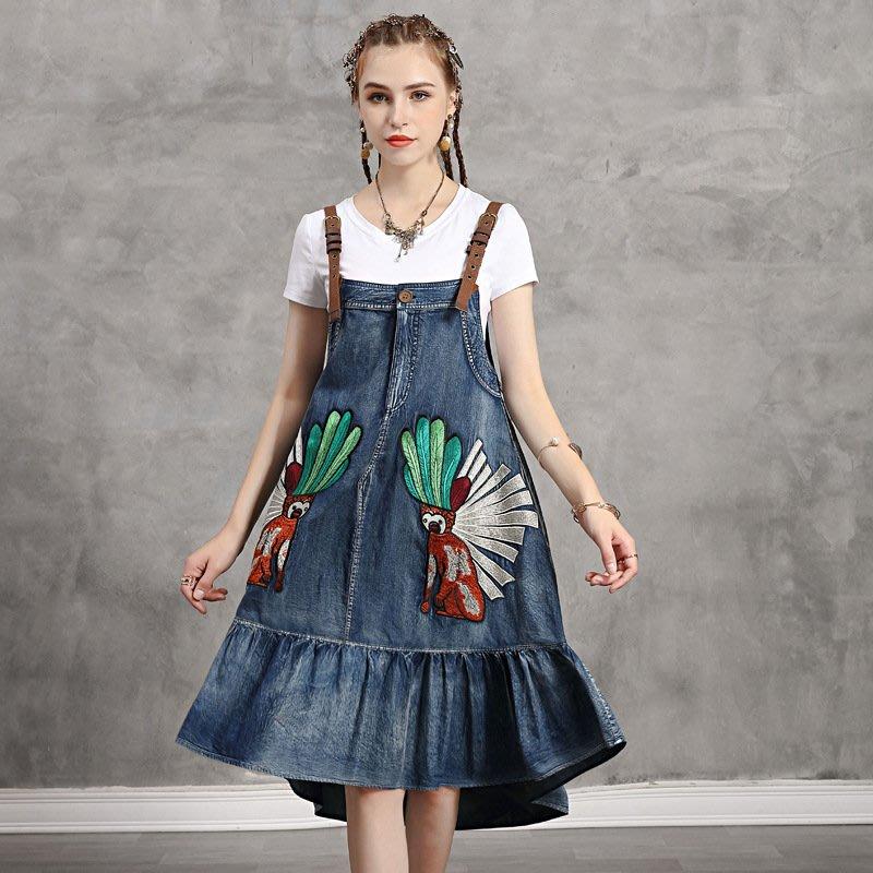 ♥ 裁縫師公主 ♥牛仔背帶不規則荷葉邊連身裙