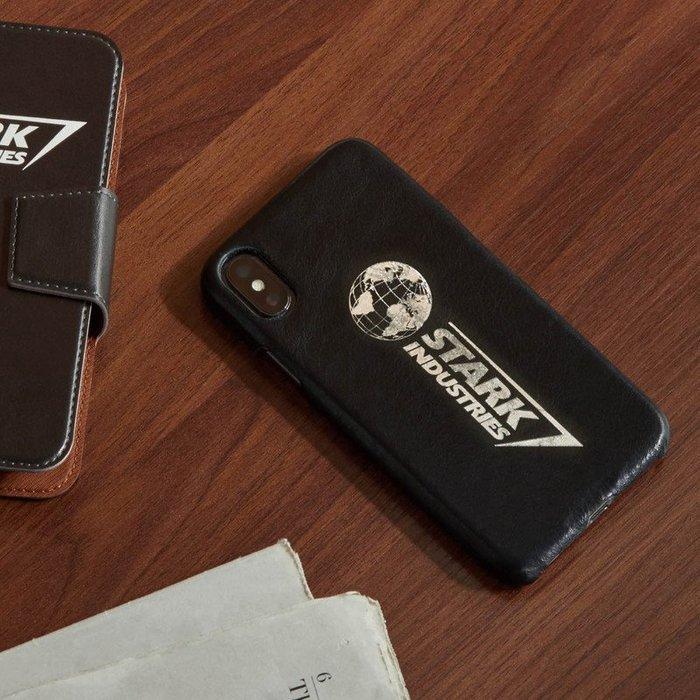 《FOS》日本 迪士尼 復仇者聯盟 終局之戰 鋼鐵人 史塔克 工業 iPhone X 手機 保護殼 保護套 牛皮 限量