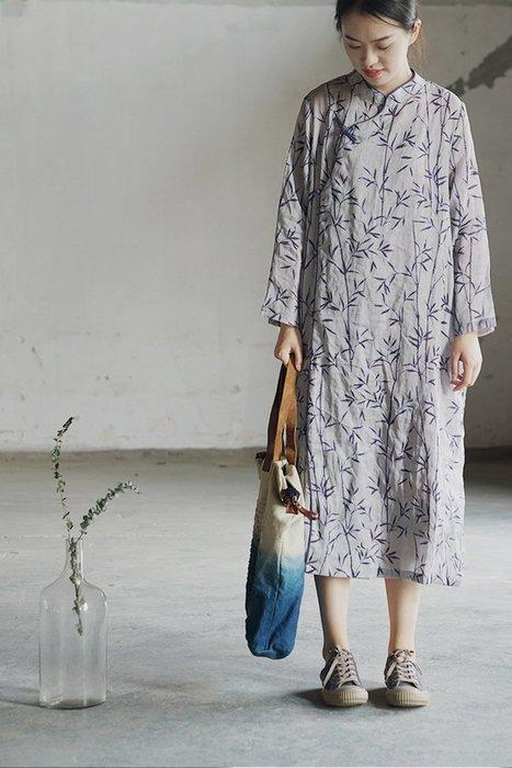 【子芸芳】原創文藝國風苧麻印花斜襟盤扣寬鬆長旗袍民族顯瘦連衣裙