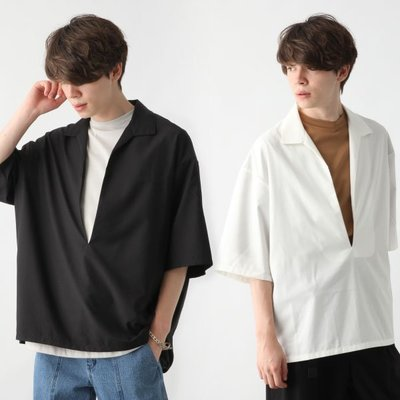 【傑森精品】日本 HARE 柔滑垂順 光澤感 OVERSIZE 落肩 寬鬆 廓形 深V開領 套頭式 短袖襯衫