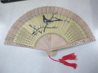 二手舖 NO.1762 檀香扇子 摺扇 中國風 古風 鳥類緬香木